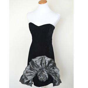 80's Vintage Velvet Prom Formal Dress